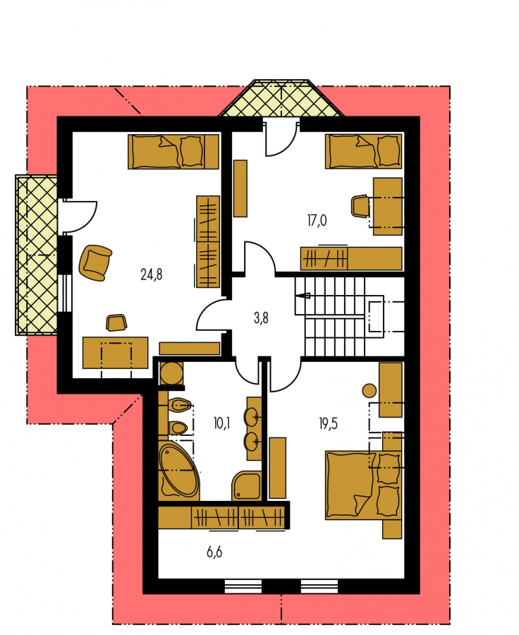 Pôdorys Poschodia - Dom s garážou a obytným podkrovím.