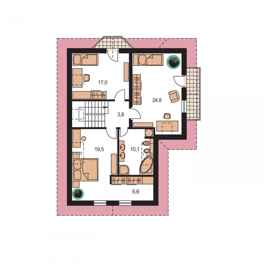 Pôdorys Poschodia - Dom s garážou a obytným podkrovím