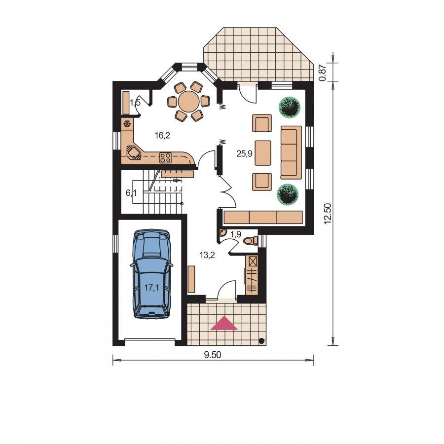 Pôdorys Prízemia - Dom s garážou a obytným podkrovím