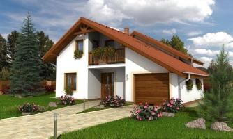 Dom so sedlovou strechou, garážou a pracovňou na prízemí.