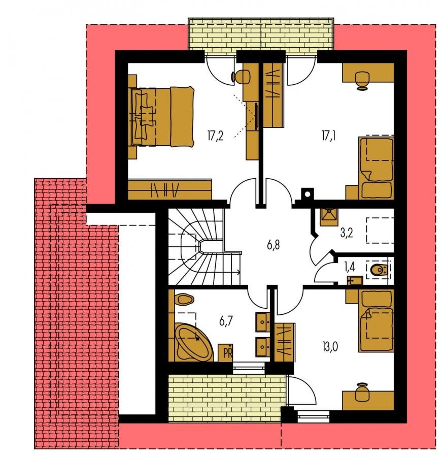 Pôdorys Poschodia - Dom so sedlovou strechou, garážou a pracovňou na prízemí