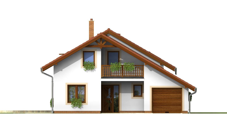 Pohľad 1. - Dom so sedlovou strechou, garážou a pracovňou na prízemí