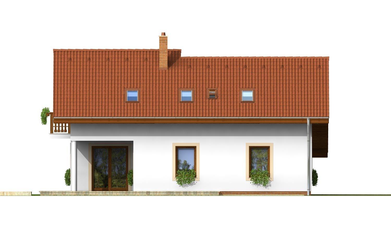 Pohľad 2. - Dom so sedlovou strechou, garážou a pracovňou na prízemí