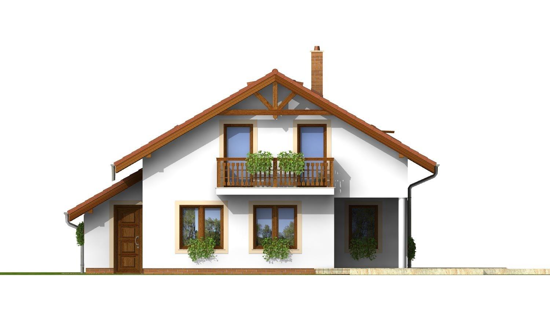 Pohľad 3. - Dom so sedlovou strechou, garážou a pracovňou na prízemí