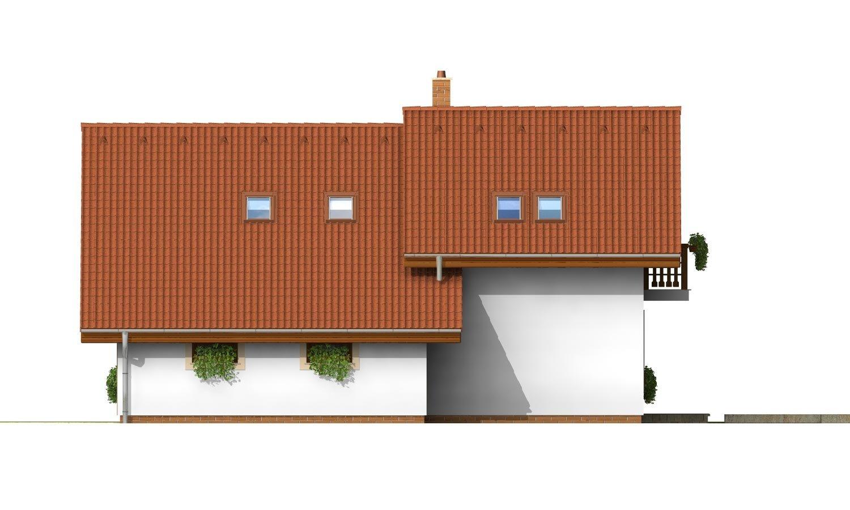 Pohľad 4. - Dom so sedlovou strechou, garážou a pracovňou na prízemí