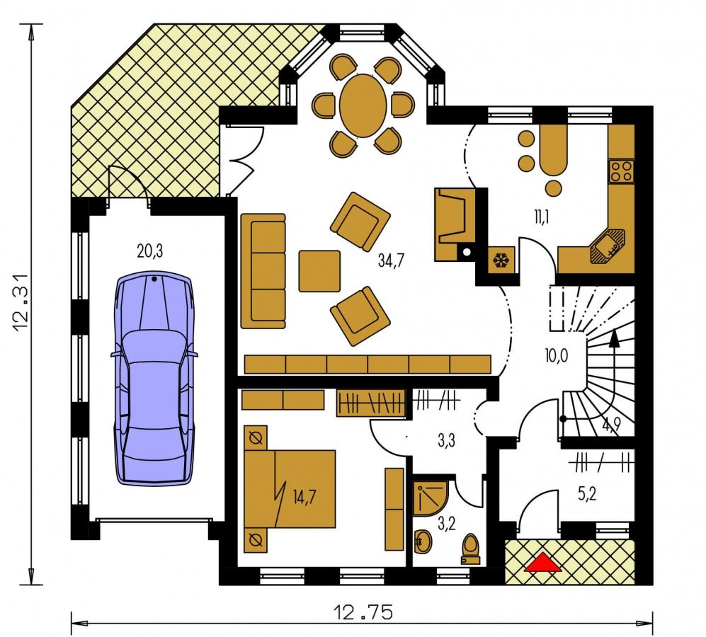 Pôdorys Prízemia - Veľký exkluzívny podkrovný rodinný dom s izbami na prízemí.