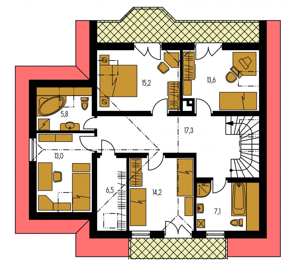 Pôdorys Poschodia - Veľký exkluzívny podkrovný rodinný dom s izbami na prízemí.