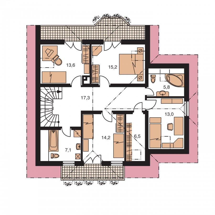 Pôdorys Poschodia - Veľký exkluzívny podkrovný rodinný dom s izbami na prízemí