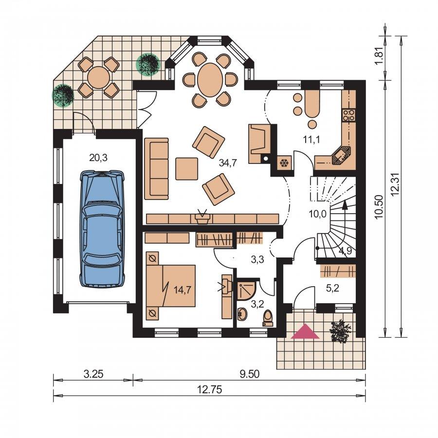 Pôdorys Prízemia - Veľký exkluzívny podkrovný rodinný dom s izbami na prízemí
