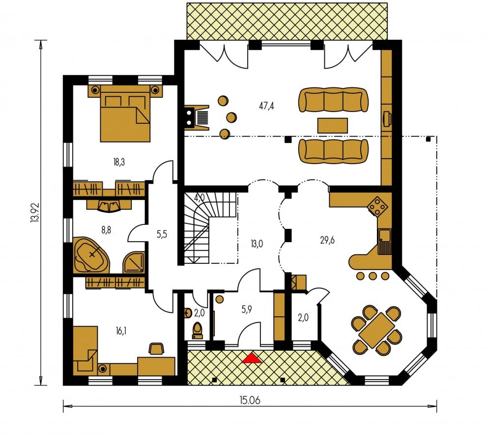 Pôdorys Prízemia - Exkluzívny dom s dvomi izbami na prízemí a obytným podkrovím.