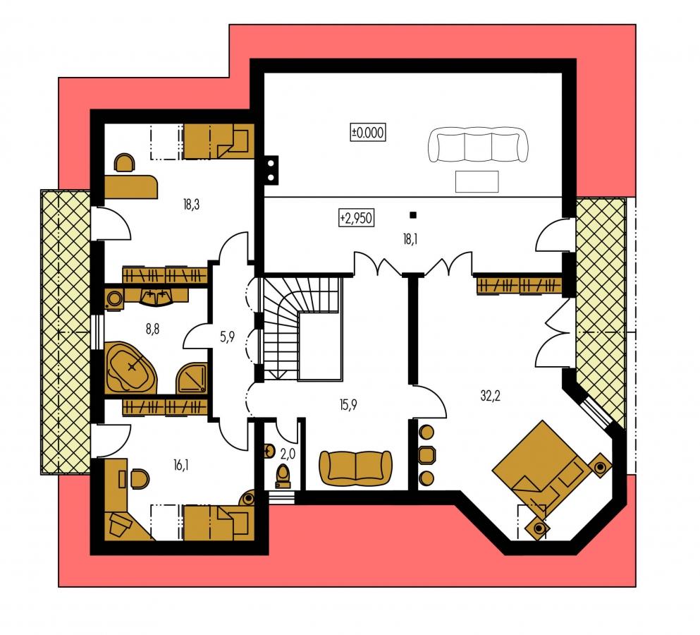 Pôdorys Poschodia - Exkluzívny dom s dvomi izbami na prízemí a obytným podkrovím.