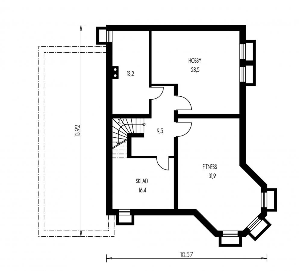 Pôdorys Suterénu - Exkluzívny dom s dvomi izbami na prízemí a obytným podkrovím.