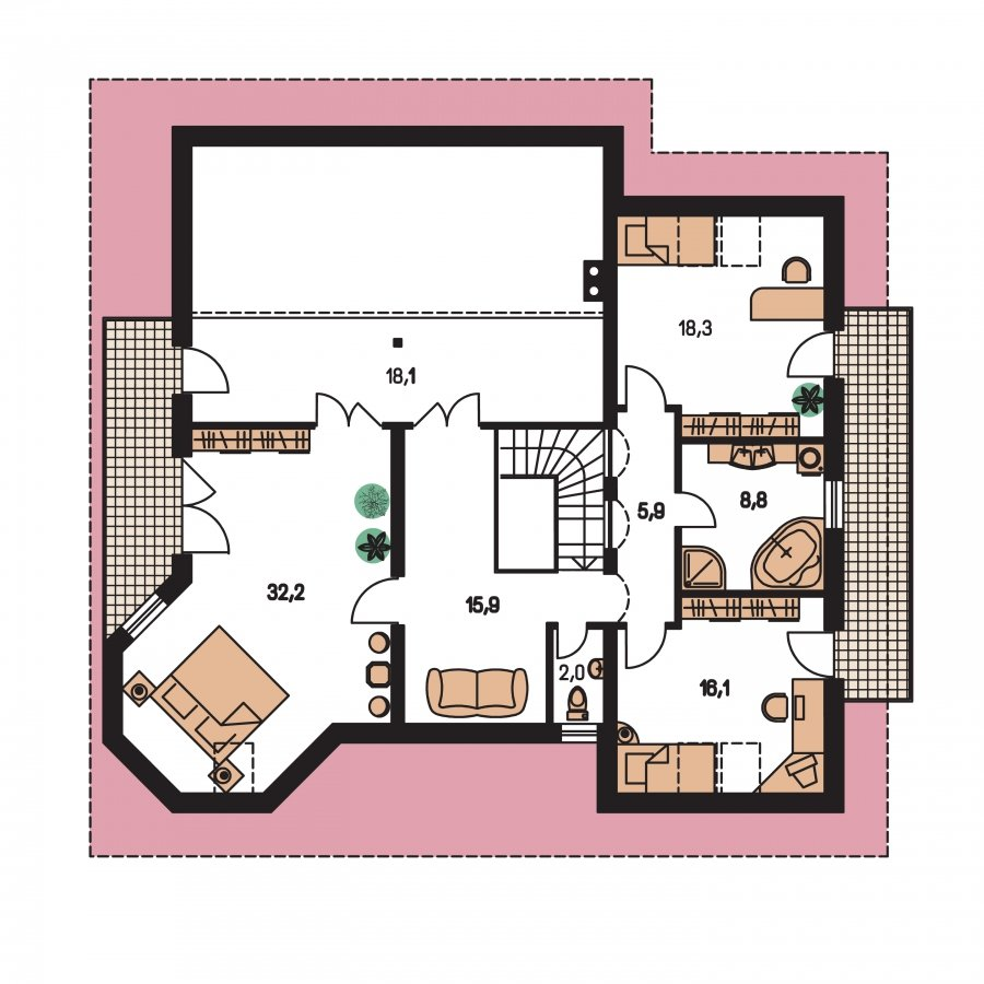 Pôdorys Poschodia - Exkluzívny dom s dvomi izbami na prízemí a obytným podkrovím