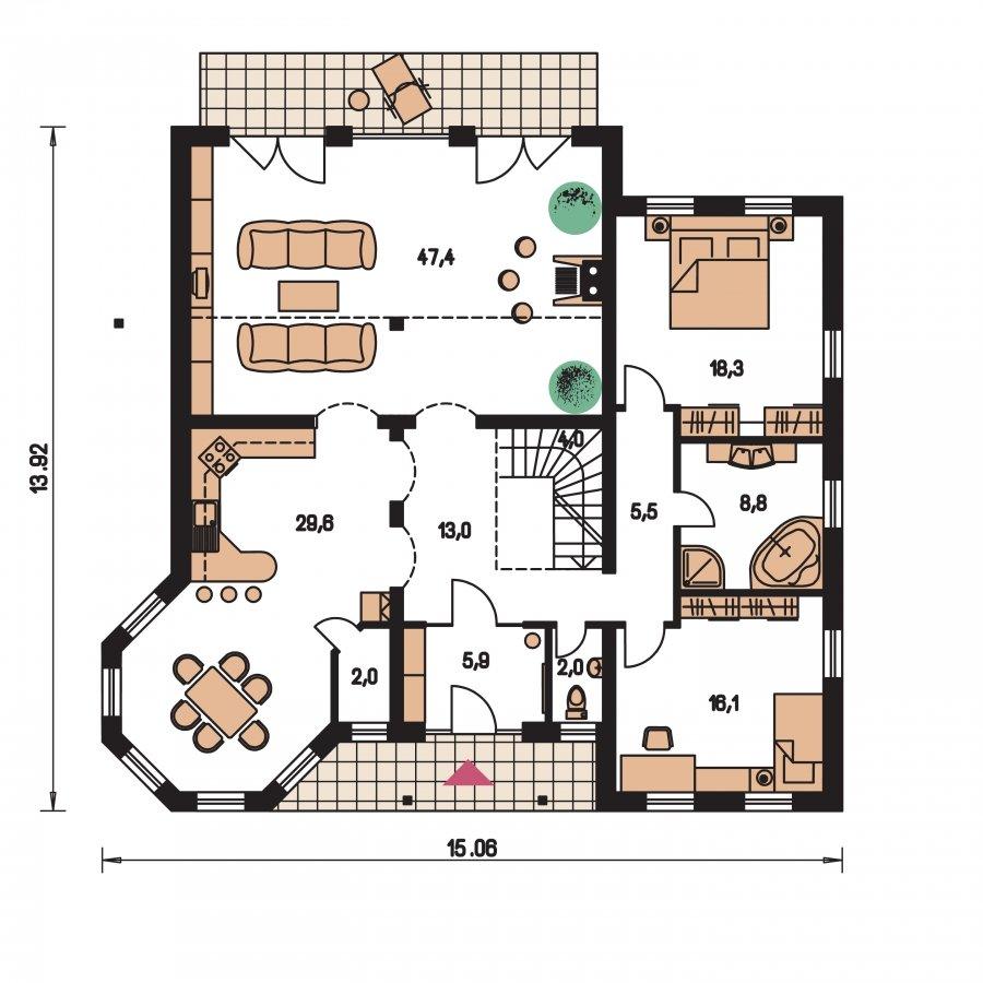 Pôdorys Prízemia - Exkluzívny dom s dvomi izbami na prízemí a obytným podkrovím