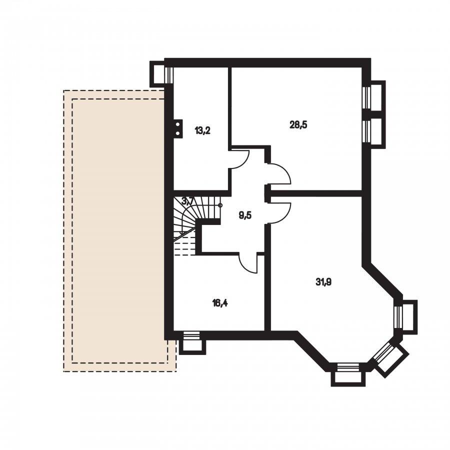Pôdorys Suterénu - Exkluzívny dom s dvomi izbami na prízemí a obytným podkrovím