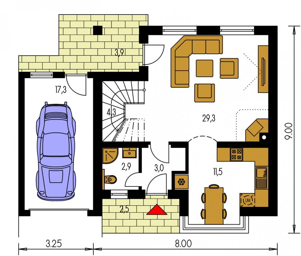 Pôdorys Prízemia - Rodinný dom vhodný do radovej zástavby alebo ako dvojdom.