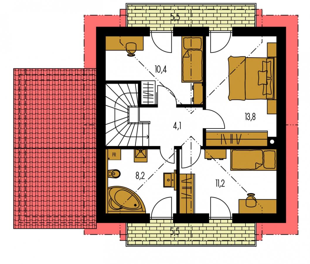 Pôdorys Poschodia - Rodinný dom vhodný do radovej zástavby alebo ako dvojdom.