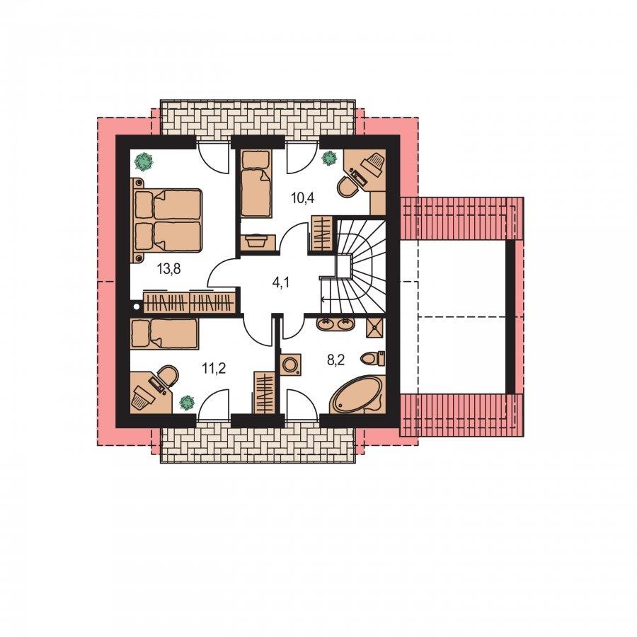 Pôdorys Poschodia - Rodinný dom vhodný do radovej zástavby alebo ako dvojdom