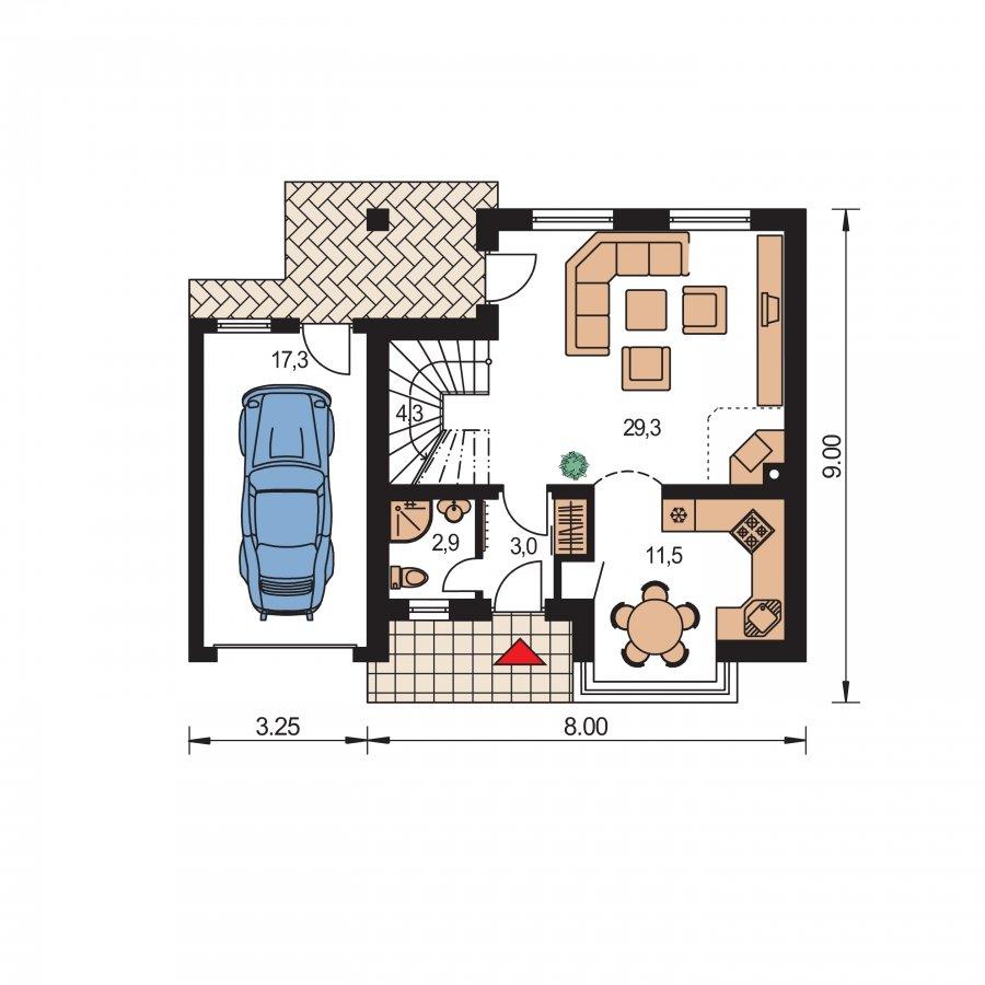 Pôdorys Prízemia - Rodinný dom vhodný do radovej zástavby alebo ako dvojdom