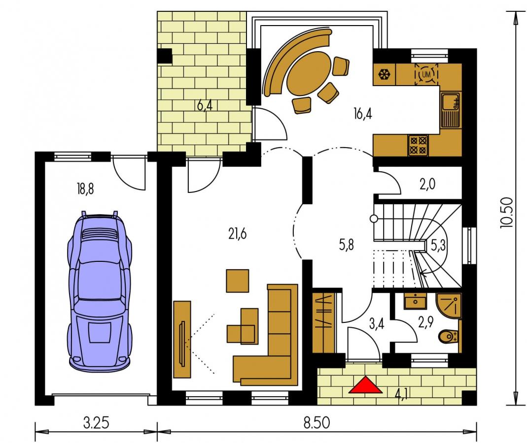 Pôdorys Prízemia - Podkrovný rodinný dom s garážou.