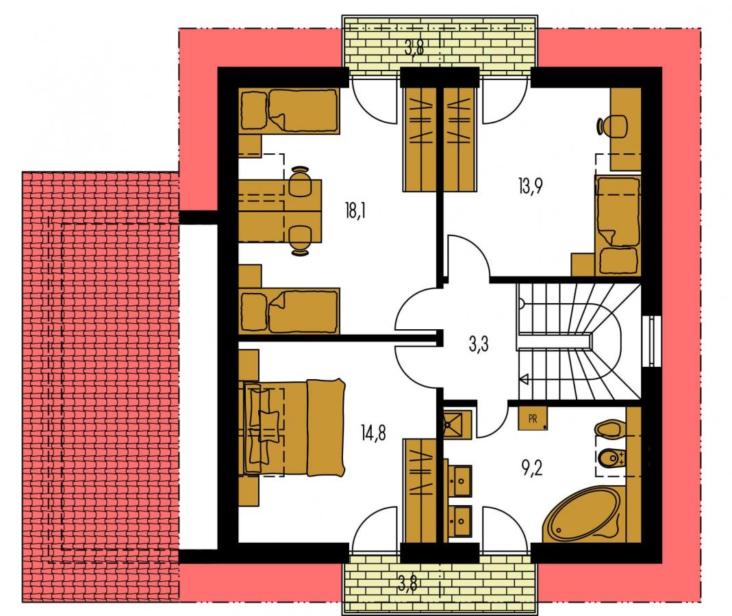 Pôdorys Poschodia - Podkrovný rodinný dom s garážou.
