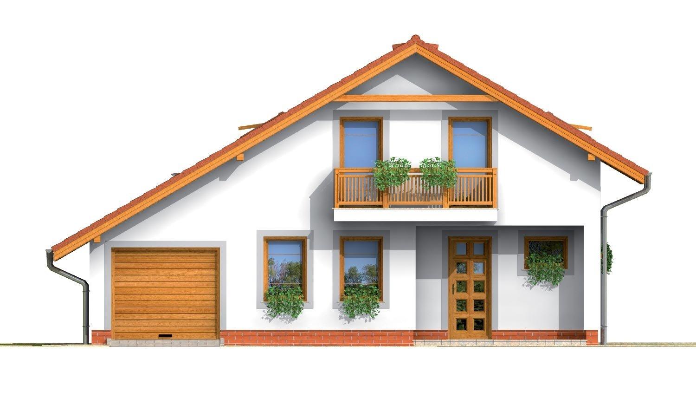 Pohľad 1. - Podkrovný rodinný dom s garážou.