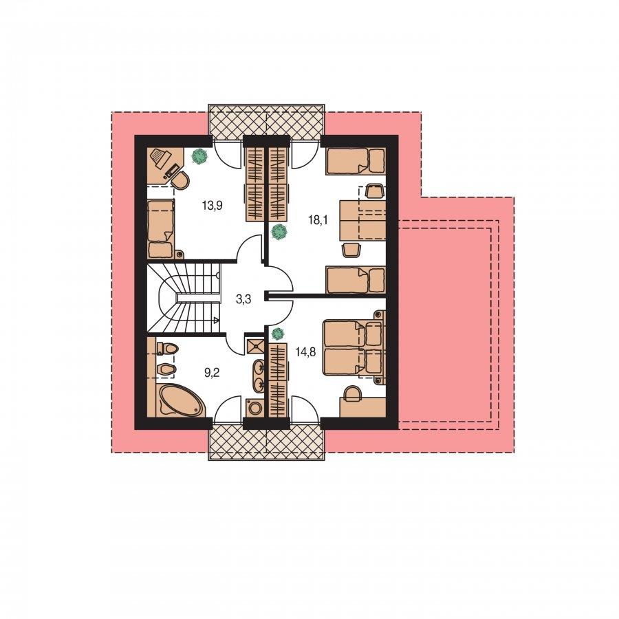 Pôdorys Poschodia - Podkrovný rodinný rodinný dom s garážou
