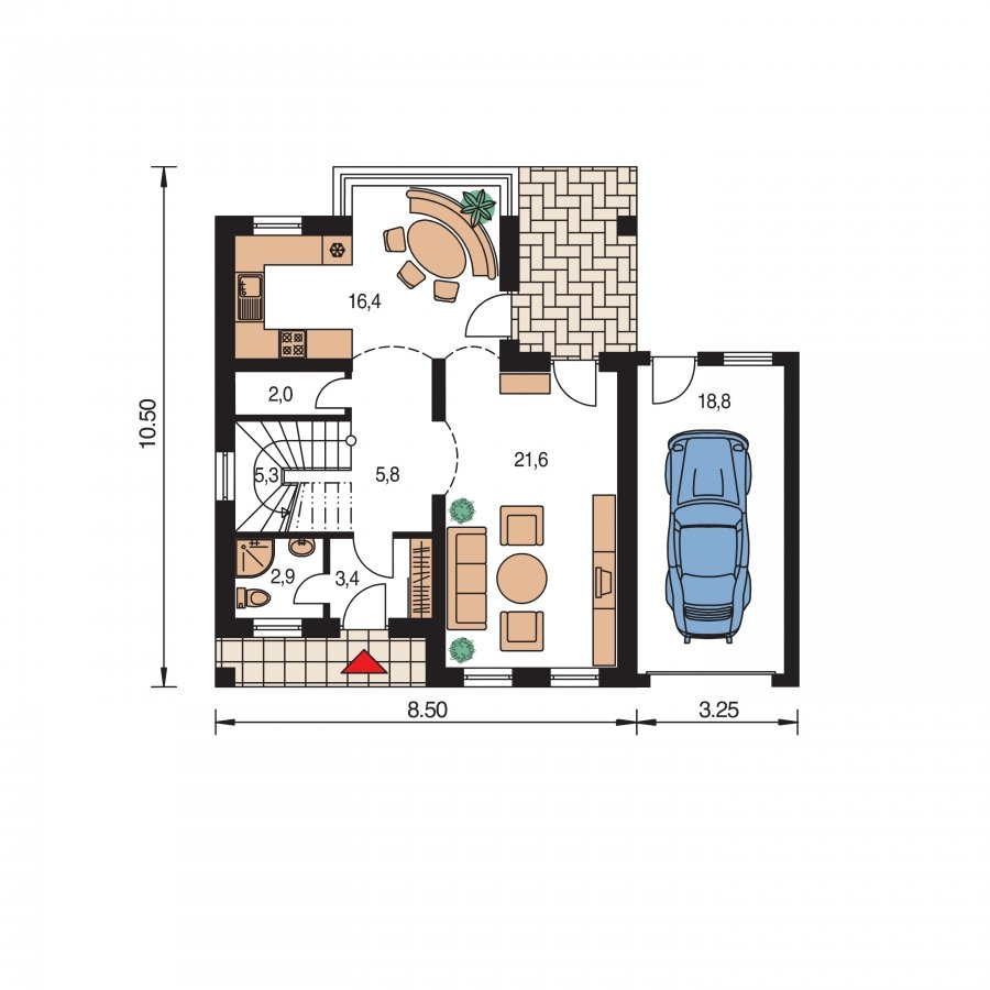 Pôdorys Prízemia - Podkrovný rodinný rodinný dom s garážou