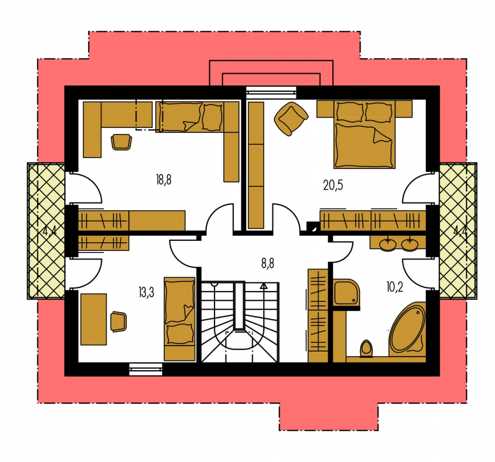 Pôdorys Poschodia - Rodinný dom vhodný na úzky pozemok.