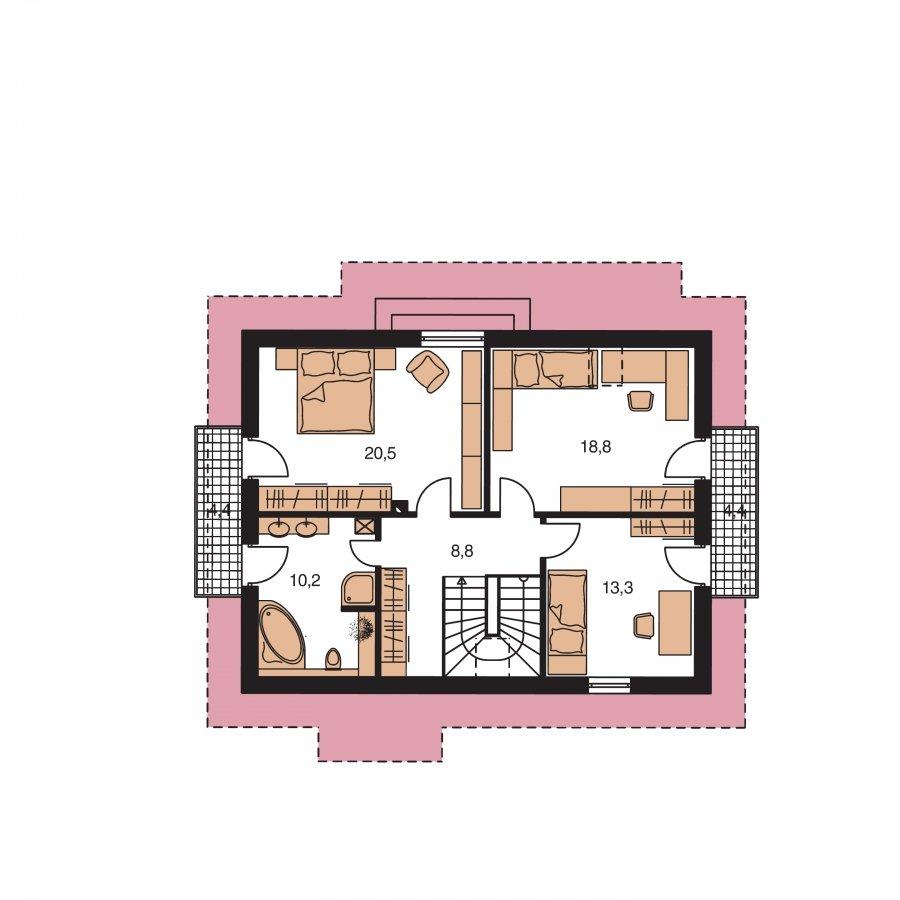 Pôdorys Poschodia - Rodinný dom vhodný na úzky pozemok