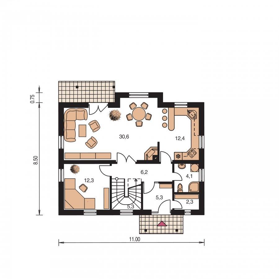 Pôdorys Prízemia - Rodinný dom vhodný na úzky pozemok