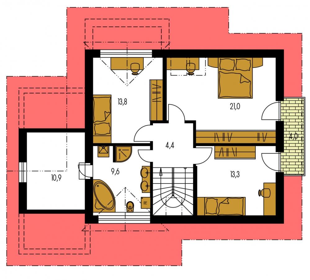 Pôdorys Poschodia - Dom s garážou a izbou na prízemí. Vhodný aj ako dvojdom.