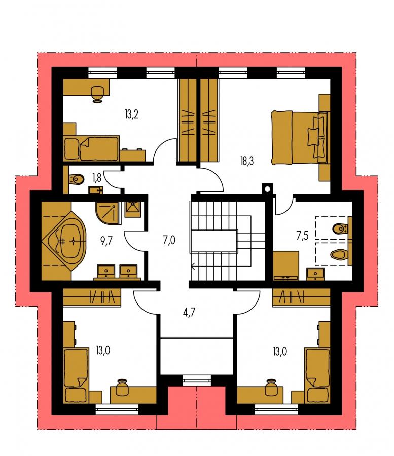 Pôdorys Poschodia - Klasický podkrovný dom so sedlovou strechou.