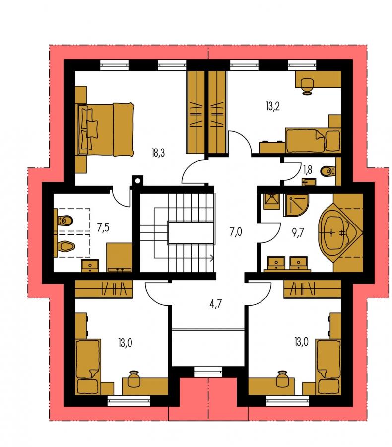 Pôdorys Poschodia - Klasický podkrovný dom so sedlovou strechou
