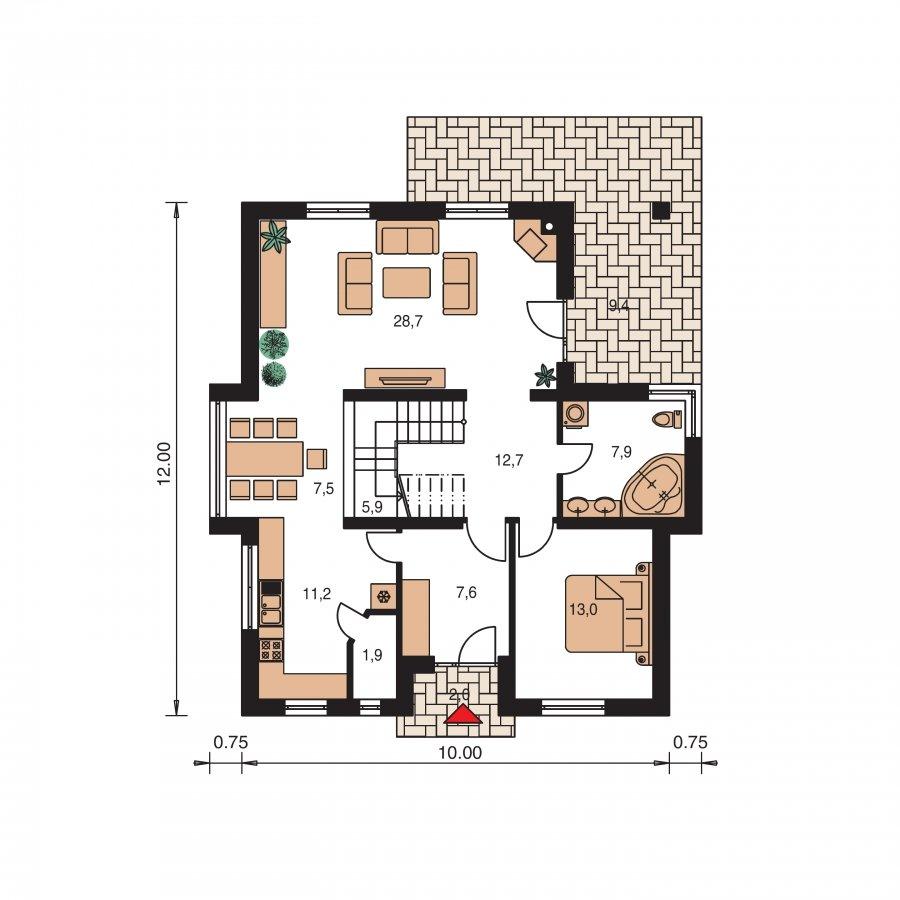 Pôdorys Prízemia - Klasický podkrovný dom so sedlovou strechou