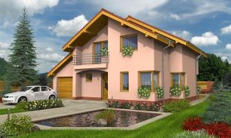 Dom s garážou a apsidou v jedálenskom kúte