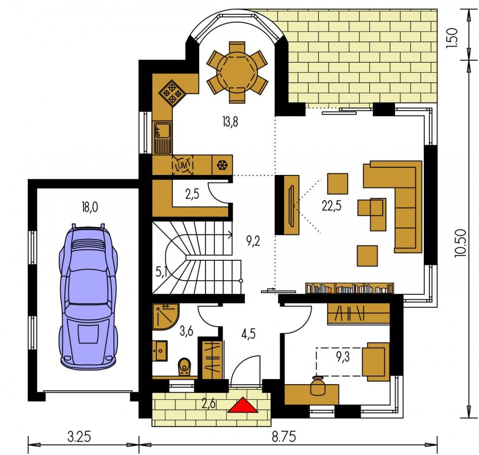 Pôdorys Prízemia - Dom s garážou a apsidou v jedálenskom kúte