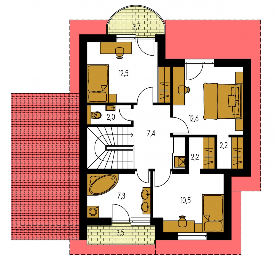 Pôdorys Poschodia - Dom s garážou a apsidou v jedálenskom kúte