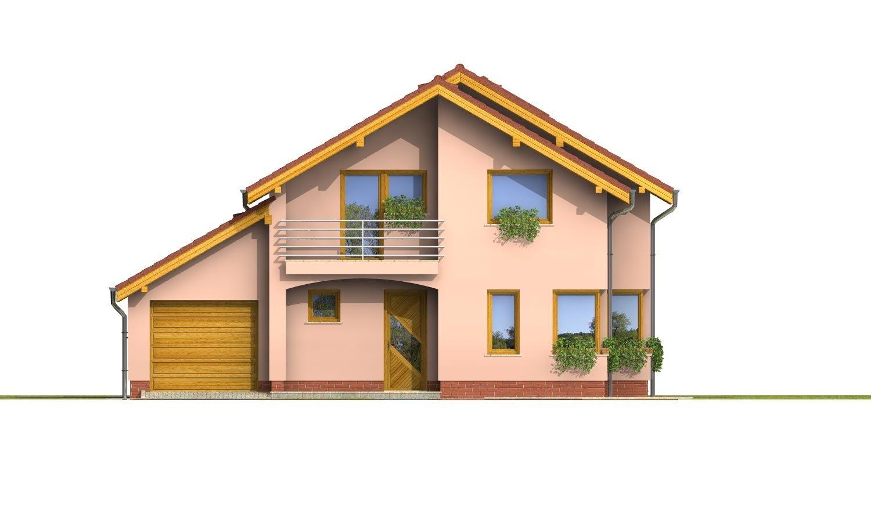 Pohľad 1. - Dom s garážou a apsidou v jedálenskom kúte