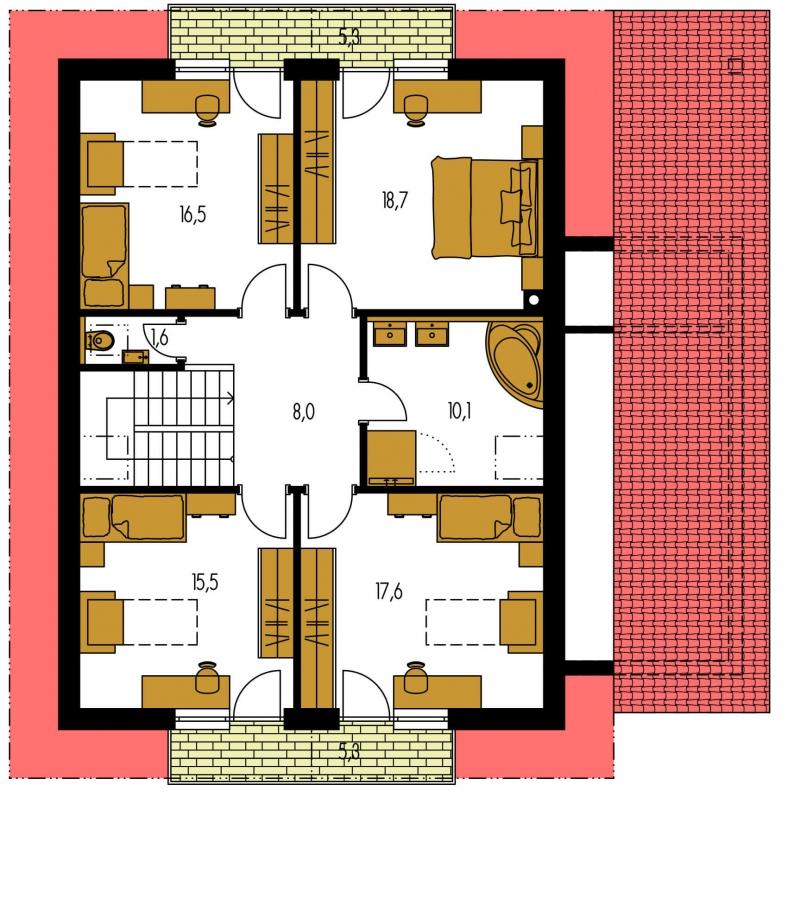 Pôdorys Poschodia - Podkrovný dom s garážou a izbou na prízemí