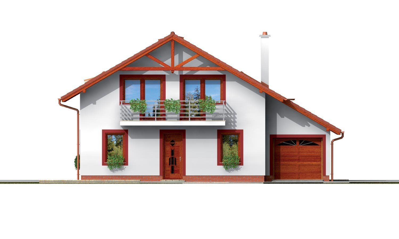 Pohľad 1. - Podkrovný dom s garážou a izbou na prízemí