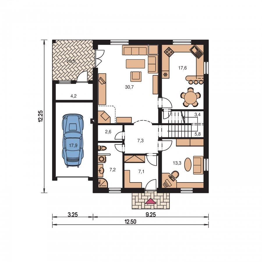 Pôdorys Prízemia - Podkrovný dom s garážou a izbou na prízemí
