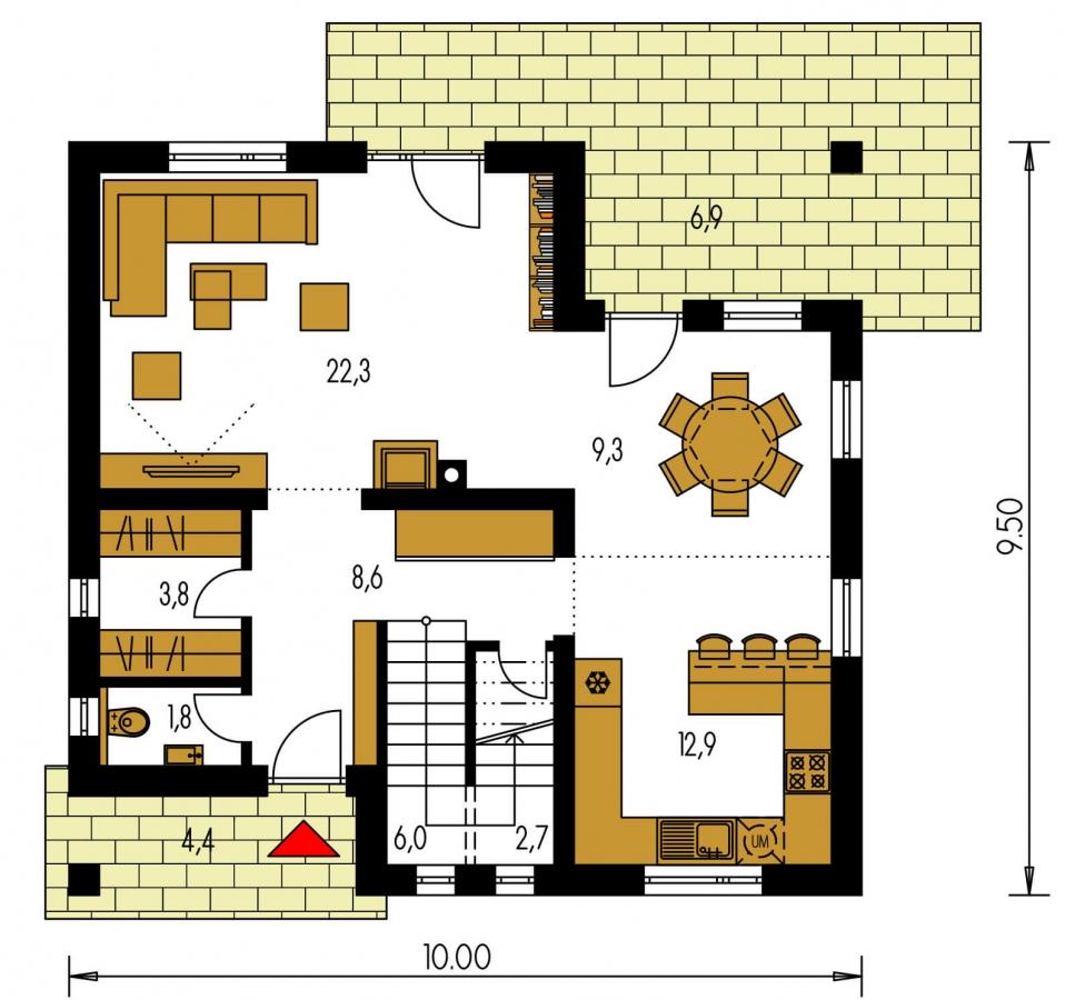 Pôdorys Prízemia - Dom s obytným podkrovím a prekrytou terasou