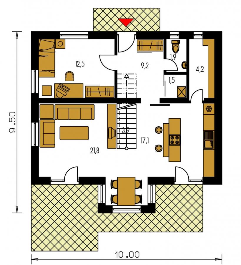 Pôdorys Prízemia - 6-izbový dom s jednou izbou v prízemí.
