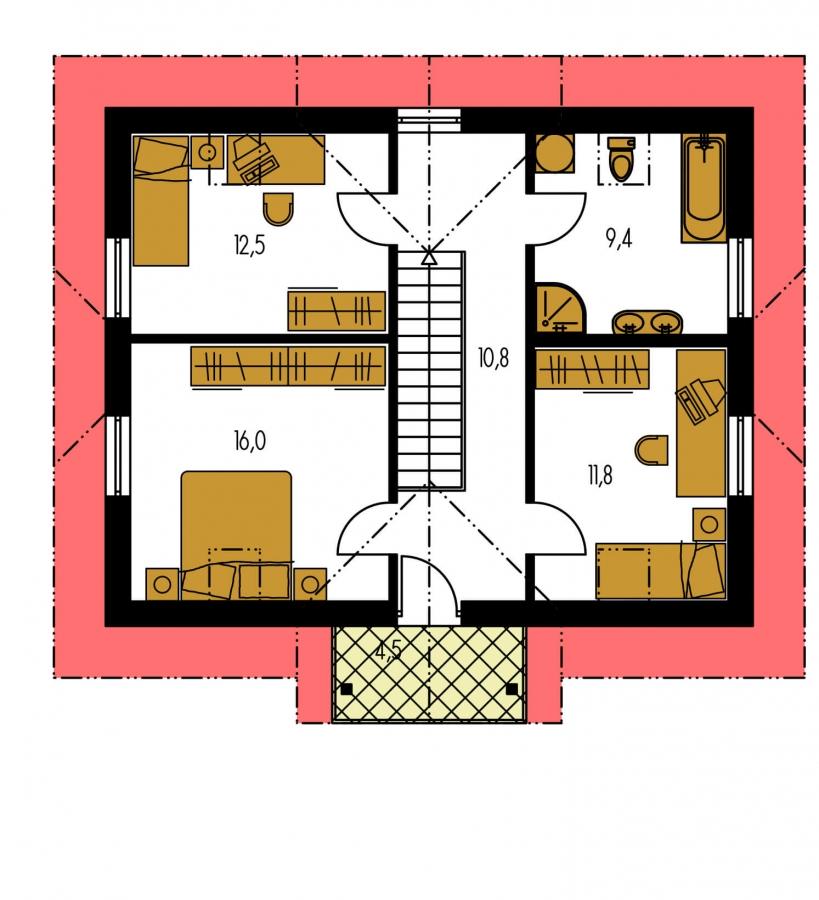 Pôdorys Poschodia - 6-izbový dom s jednou izbou v prízemí.