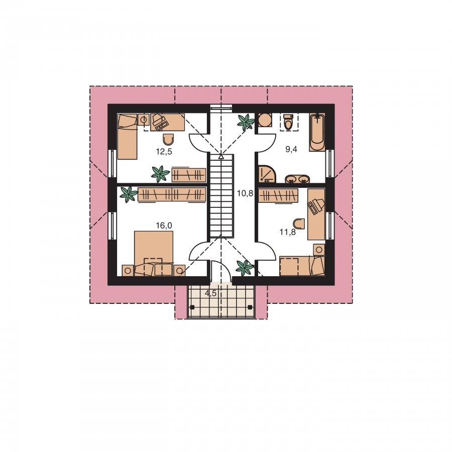 Pôdorys Poschodia - Dom 6-izbový s jednou izbou v prízemí