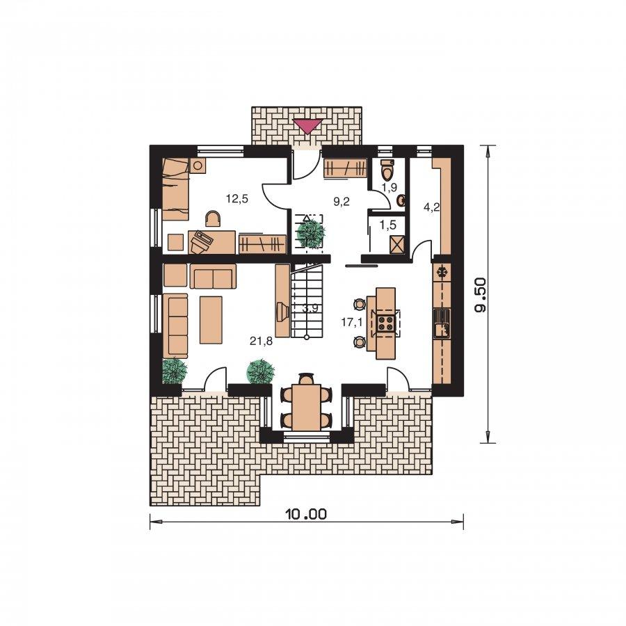 Pôdorys Prízemia - Dom 6-izbový s jednou izbou v prízemí