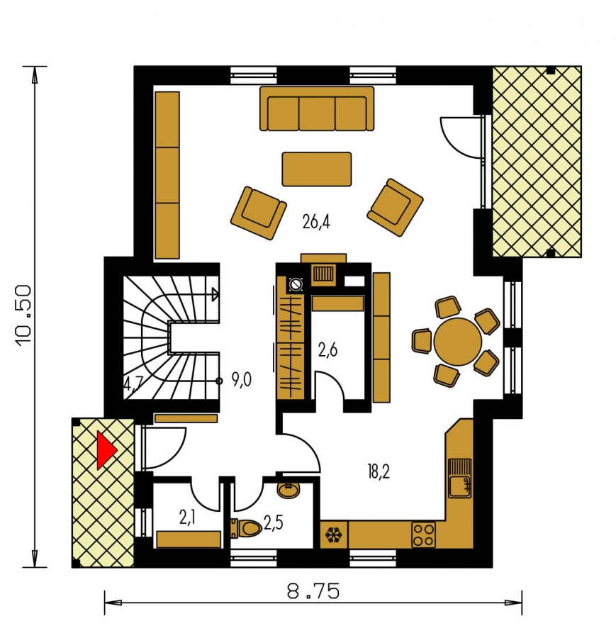 Pôdorys Prízemia - Rodinný dom na úzky pozemok s obytným podkrovím.