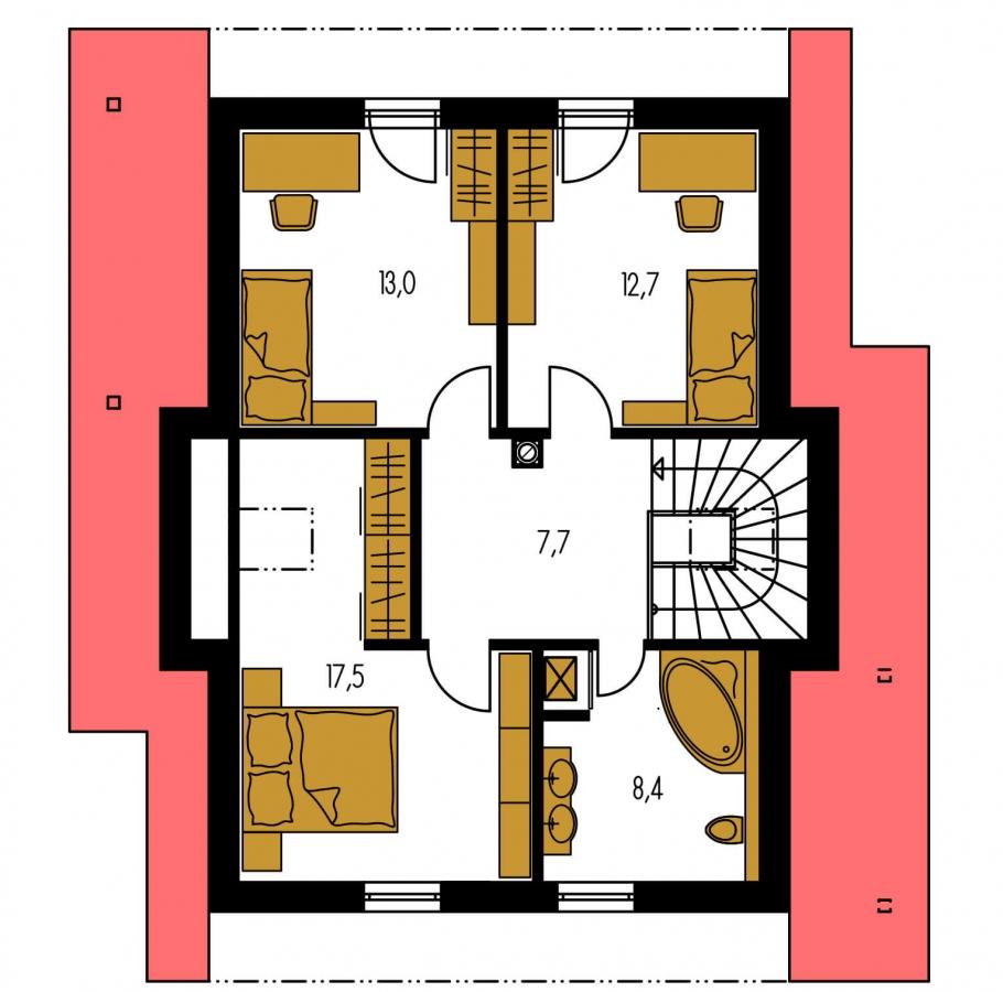 Pôdorys Poschodia - Rodinný dom na úzky pozemok s obytným podkrovím.