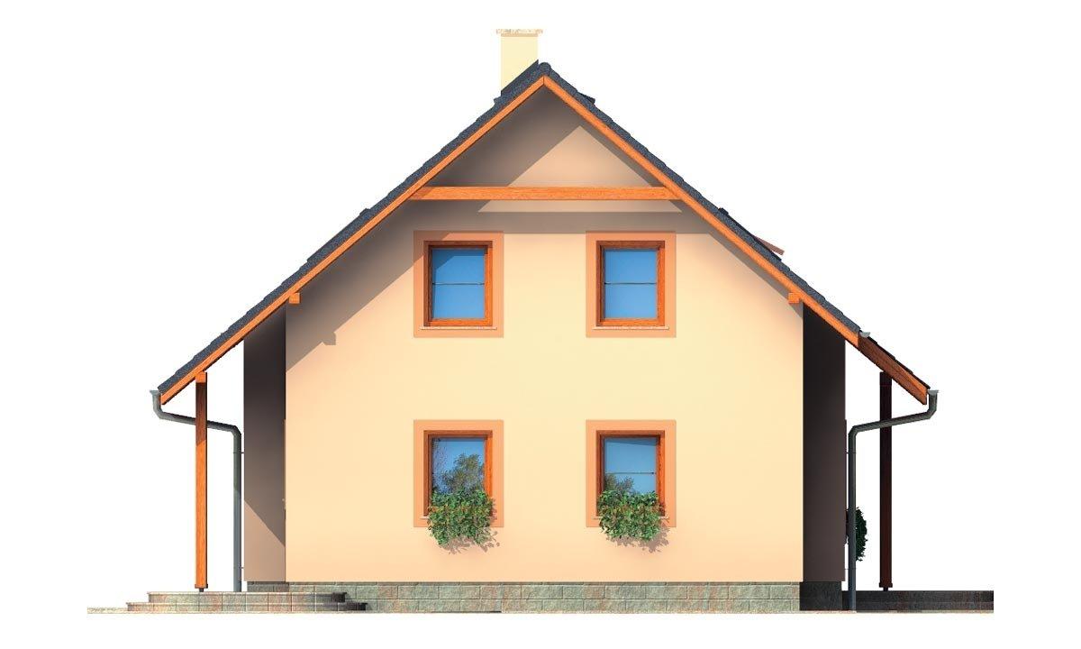 Pohľad 4. - Rodinný dom na úzky pozemok s obytným podkrovím.